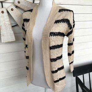 Pink Rose Striped Open Knit Crochet Cardigan